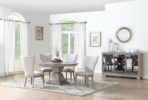 Doris Round Table W 4 Chairs Katy Furniture Table Upholstered Chairs Chair
