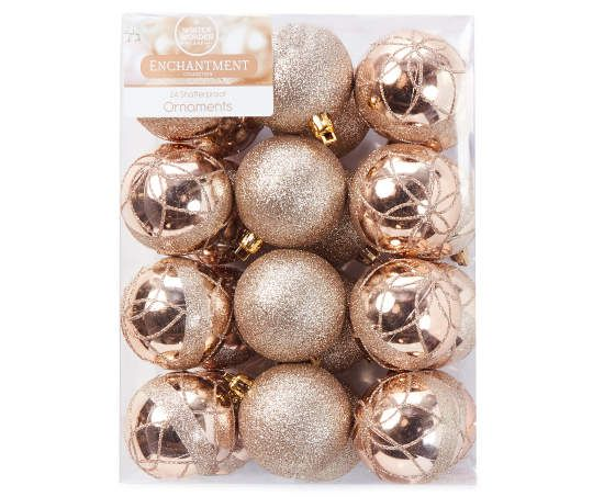 Winter Wonder Lane Champagne Gold Ball 24 Piece Shatterproof Ornament Set Gold Christmas Ornaments