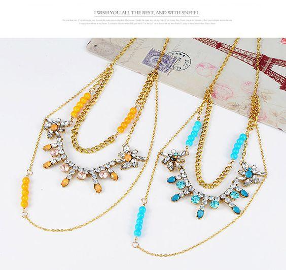 Vogue Orange Beads Decorated Multilayer Design  Alloy Korean Necklaces,Korean Necklaces