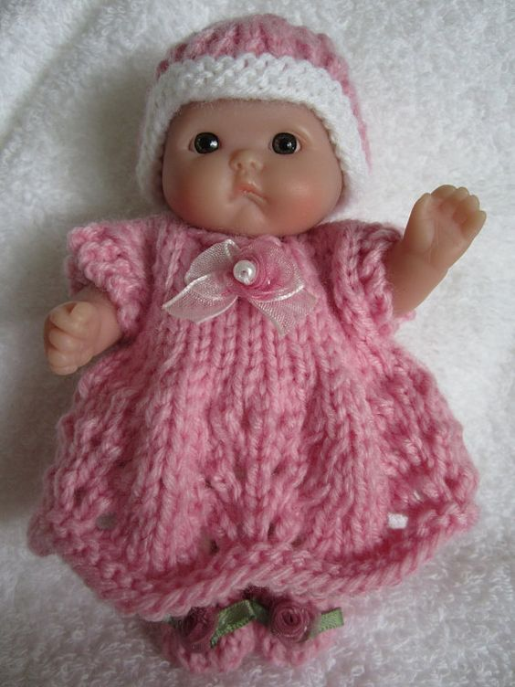 Knit Baby Doll Clothes Berenguer Scalloped Dress Set for