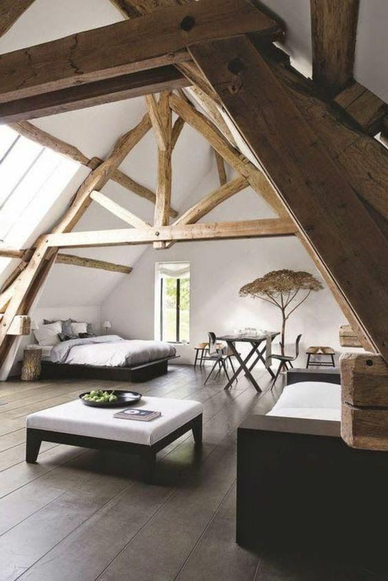 La Poutre En Bois Dans 50 Photos Magnifiques Deco Chambre Sous