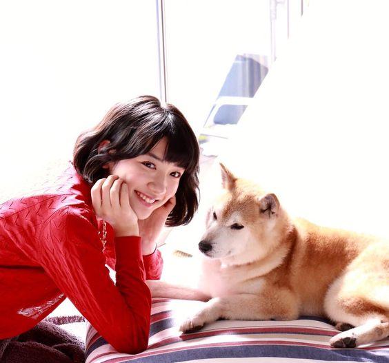 柴犬と共演する永野芽郁