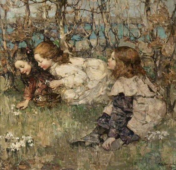 Gathering Snowdrops: Edward Atkinson Hornel: