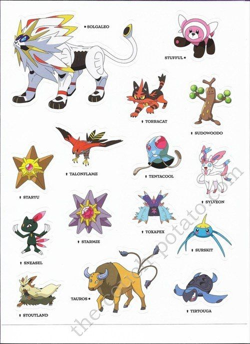 Pokemon Alola Stickers 7003 Pokemon Alola Pokemon Pokemon Moon