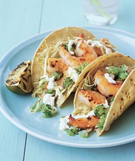 Grilled Shrimp Tacos    Grill the tortillas lightly before filling with garlic-butter shrimp to add a smoky, delicious char.