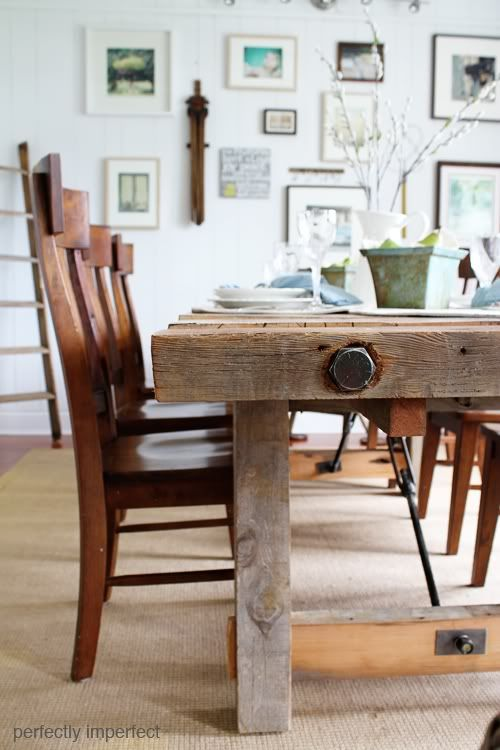 Tables pottery barn and perfectly imperfect on pinterest for Diy barn table