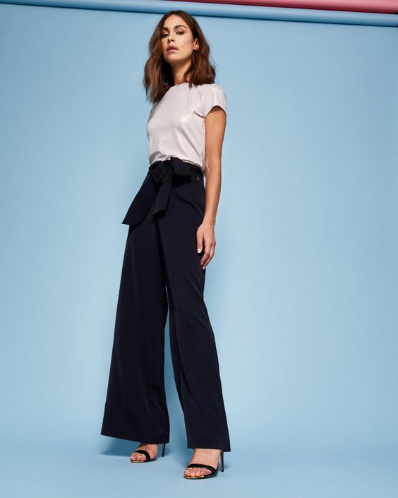 Wide leg self-tie trousers - Dark Blue | Trousers and Shorts | Ted Baker UK