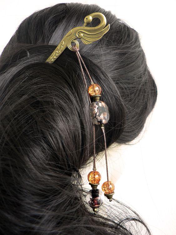 Pic à cheveux Cygne métal bronze - Perles de Murano et Perles en verre craquelé orangé - fait main : Accessoires coiffure par l-oiseau-seraphine