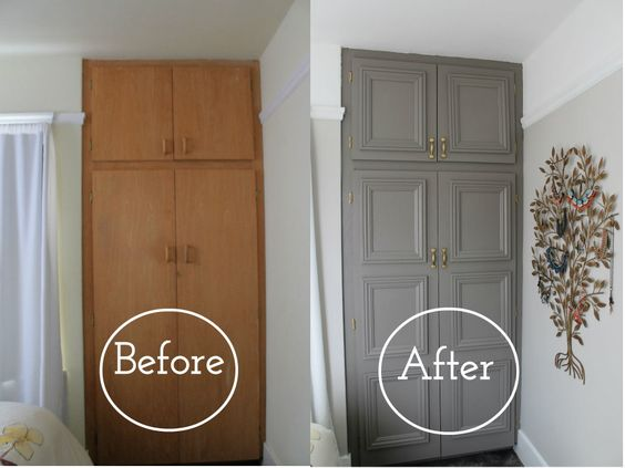 Here is what she did: She removed the doors and prepped all the surfaces. She cleaned up the hinges and spray-painted them with Rustoleum gold spray paint. She got new pulls. Then measured and cut the trim. (That was quick since all the frames are the same size.) She doesn't specify but I assume she …
