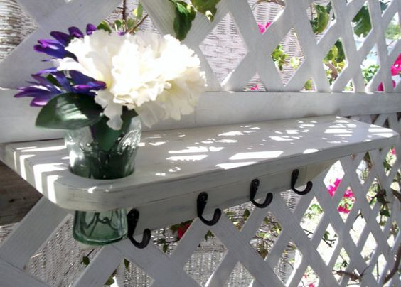 Four Hook Rail Wall Shelf with Recessed Vase by datedbydesign, $48.00