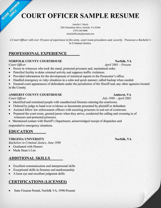 Court Officer Resume Sample #Law (resumecompanion) Resume - resume for security officer
