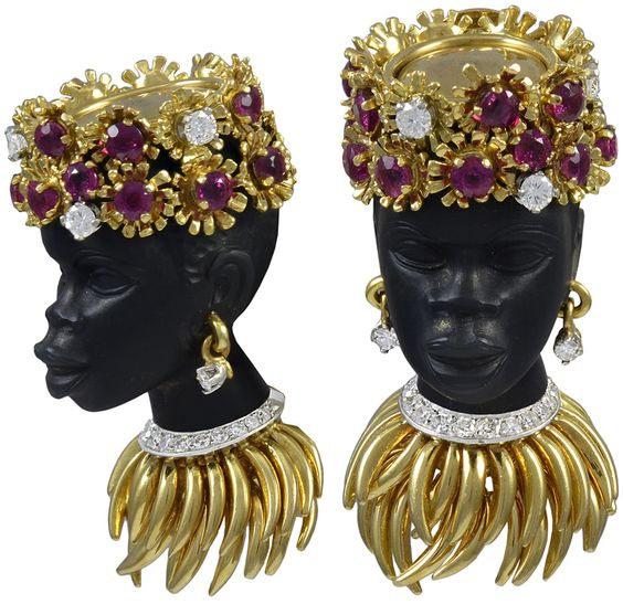 A superb jeweled Nubian Princess clip brooch, circa 1960 only one brooch from 2 angles