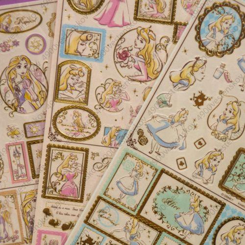 Palheta-1pc-Princesa-Disney-Japao-Le-Petit-Monde-De-Papel-Perola-Hot-Stamp-Adesivo