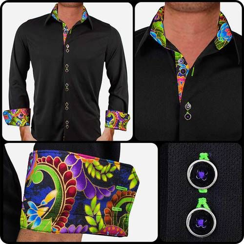Active Designer Dress Shirt: Black with Purple