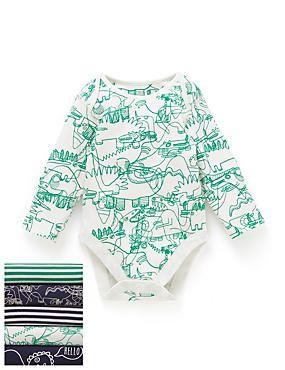 Green Mix 5 Pack Dinosaur Doodle Long Sleeve Bodysuits