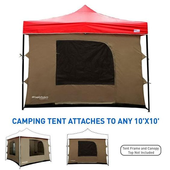 Camping Tent Attaches To Any 10 X10 Easy Up Pop Up Canopy Tent With 4 Easygo Products Pop Up Canopy Tent Tent Tent Camping
