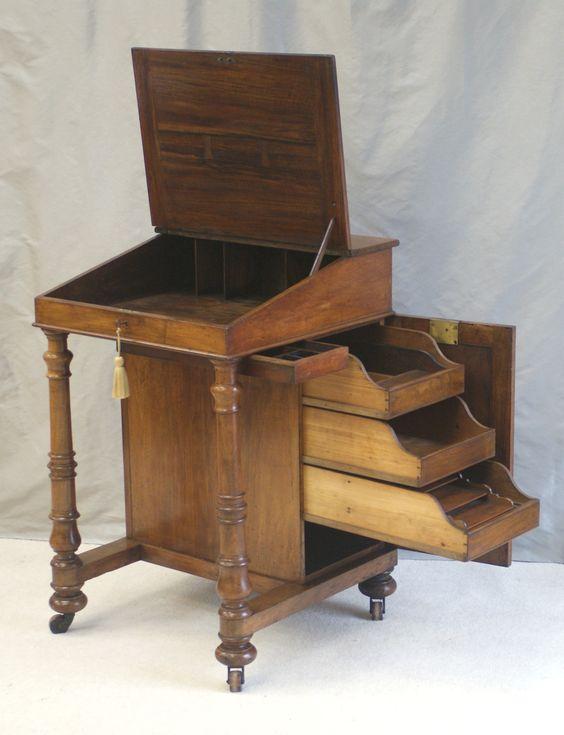 Unusual solid walnut antique davenport writing desk or for Unusual writing desks