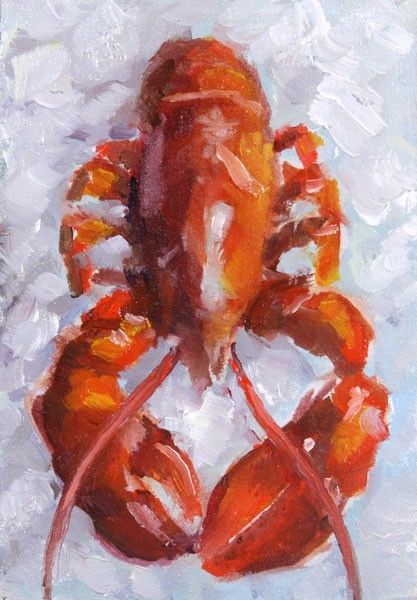 Red Lobster, Seafood on Ice - Original Miniature Oil Painting by Clair Hartmann. $63.00