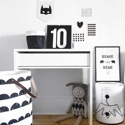 chambre - enfants - noir et blanc/ kids'room - black and white