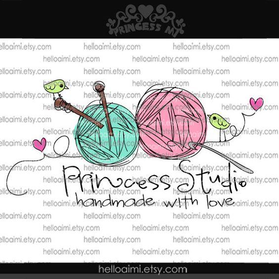 Knitting Logo Ideas : Custom premade logo design sketch ball of yarn knitting