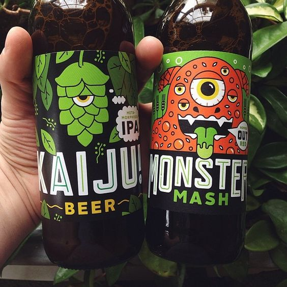 mikey burton: Tasty samples from @kaijubeer! Reworking design/naming due to dumb energy drink pushing around the little guy. BRB