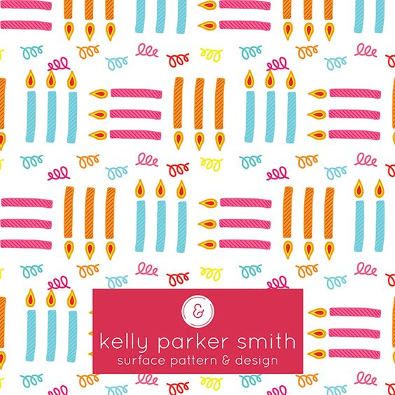 Another fun birthday pattern! This one is by Pattern Camper & Surface Pattern Designer Kelly Parker Smith.