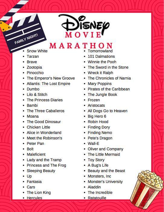 Free Printable Disney Movie Marathon List Disneymovienight Fun