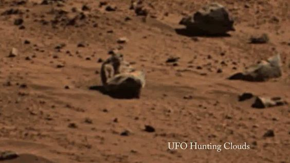 Here are three photos that were found in a Mars Panoramic Photo. One is a face, one is a rocket and one appears to be a human like figure sitting down. You can find a link to the original photo here . These are very awesome and strange anomalies ...