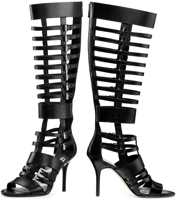 Michael by Michael Kors Black Wesley Heeled Gladiator Boot eu quero ter pernas loooongas para usar esta maravilhosa