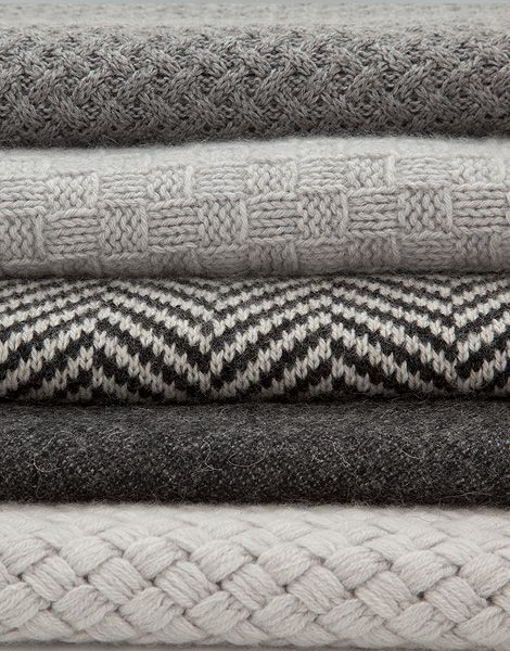 Soft, non-wool throw blanket. Chunky cable knot. Simple pattern. Stripes. Navajo inspired, grey or cream colored.