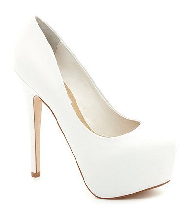 Ivory pumps! perfect for my ribbon idea. Available at Dillards.com #Dillards