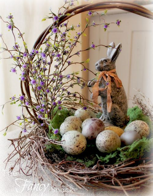 The Fancy Shack: April 2013 Easter bunny, basket and eggs: