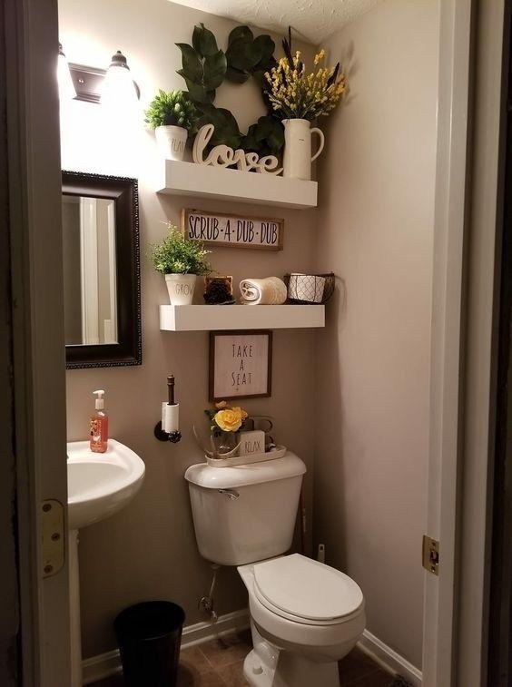 25 Elegant Bathroom Wall Decor Ideas In 2020 Restroom Decor Bathroom Shelf Decor Small Bathroom Decor