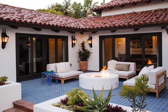 Reath Design | Los Angeles Interior Design » POINT DUME || patio, moroccan tile, concrete tile, spanish colonial, fire pit, outdoor living, planters