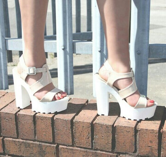 LORI nude platform heels
