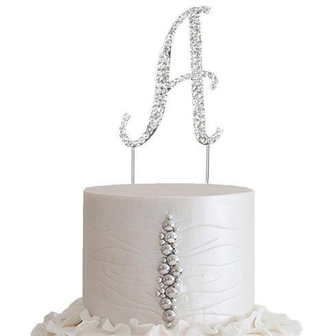 "2.5/"" SILVER Number 6 Rhinestone Cake Topper Wedding Cupcake Dessert Dessert"