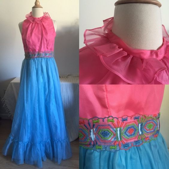"Vintage 60s Prom Dress *Labeled Betsey Johnson for exposure*. Beautiful vintage 60s prom dress! Pretty pink top with baby blue skirt. Delicate pink, blue and green detailed waist. Zipper and snap closure at back. Bust measurements up to 36"", waist measurments up to 30"". Some slight staining on the side of skirt. I have not attempted to remove stains. Comes from a smoke free home. Betsey Johnson Dresses Prom"