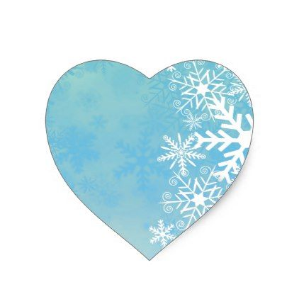 White snowflakes on blue Christmas gifts Heart Sticker - christmas stickers xmas eve custom holiday merry christmas