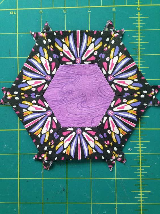 Smitten Quilt Small Hexagon Two C Join our English Paper Piecing Group on Facebook. https://www.facebook.com/groups/smittenquilt/