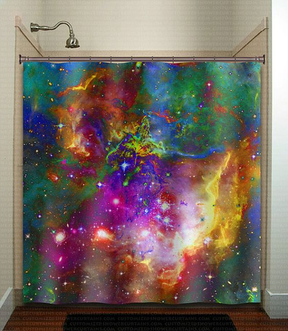 Nebula planets outer space rainbow galaxy shower curtain for Decor outer space