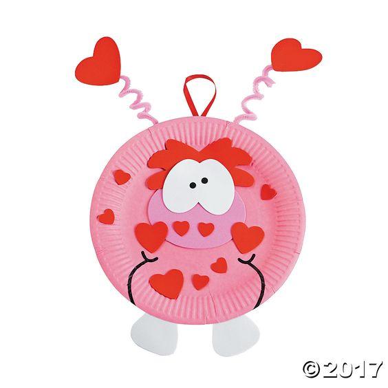 Paper Plate Valentine Monster Craft Kit - OrientalTrading.com