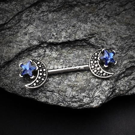 A Pair of Vintage Crescent Moon Sparkle Stars Nipple Barbell-Blue