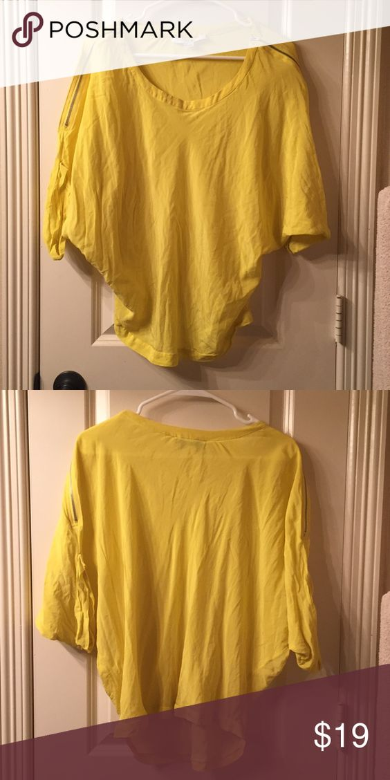 Forever 21 Yellow Batwing Sleeves Top with Zippers Forever 21 Yellow Batwing Sleeves Top with Zippers. Great condition ! Sorry it's not ironed lol Forever 21 Tops Blouses