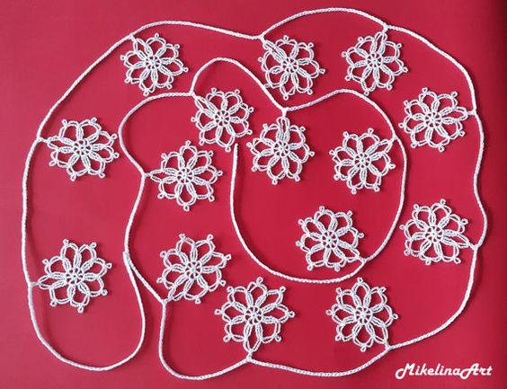 Crochet Navidad guirnalda guirnalda de copo de por MikelinaArt