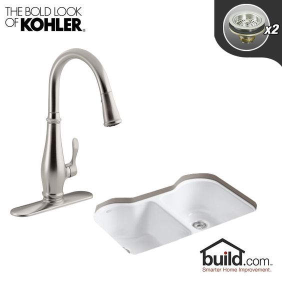 "Kohler K-5818-5U/K-780 Hartland Kitchen Kit with 33"" Cast Iron Double Basin Unde Vibrant Stainless Faucet Fixture Kitchen Sink Combination"