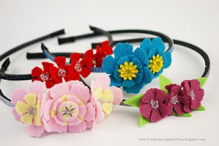 Felt flower headbands featuring the Tim Holtz Tattered Florals die.  Project by @Amy Friend.