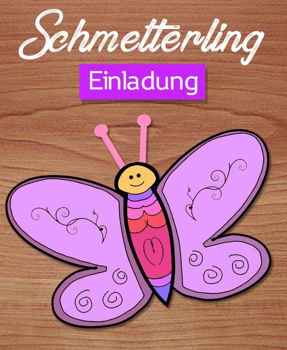Einladung Schmetterling Basteln Kostenlose Vorlagen Downloaden Schmetterling Einladungen Einladung Kindergeburtstag Basteln Geburtstagseinladungen Selber Basteln