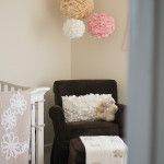 Vintage Lamb Inspired Nursery - love the fabric pompoms hanging in the corner!