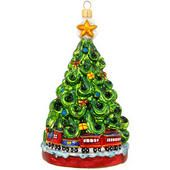 Christmas Tree With Train Glass Ornament