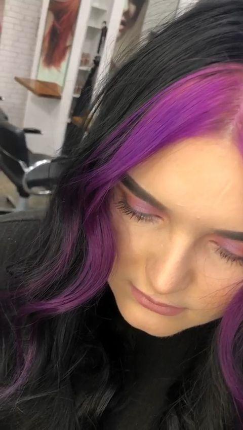Purple Purplehair Fringe Fringehairstyles Hair Break Hair Stereotype Underlights Underlights Hair Black Girl In 2020 Dyed Hair Purple Hair Hair Color